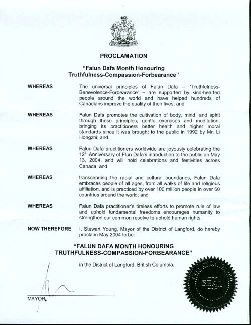 Proclamation of Falun Dafa Month, District of Langford, British Columbia,
