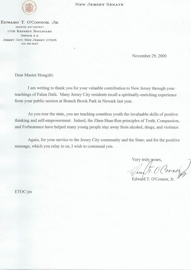 Awards U0026 Media Reports To Master. New Jersey Senator Writes A Thank You  Letter ...