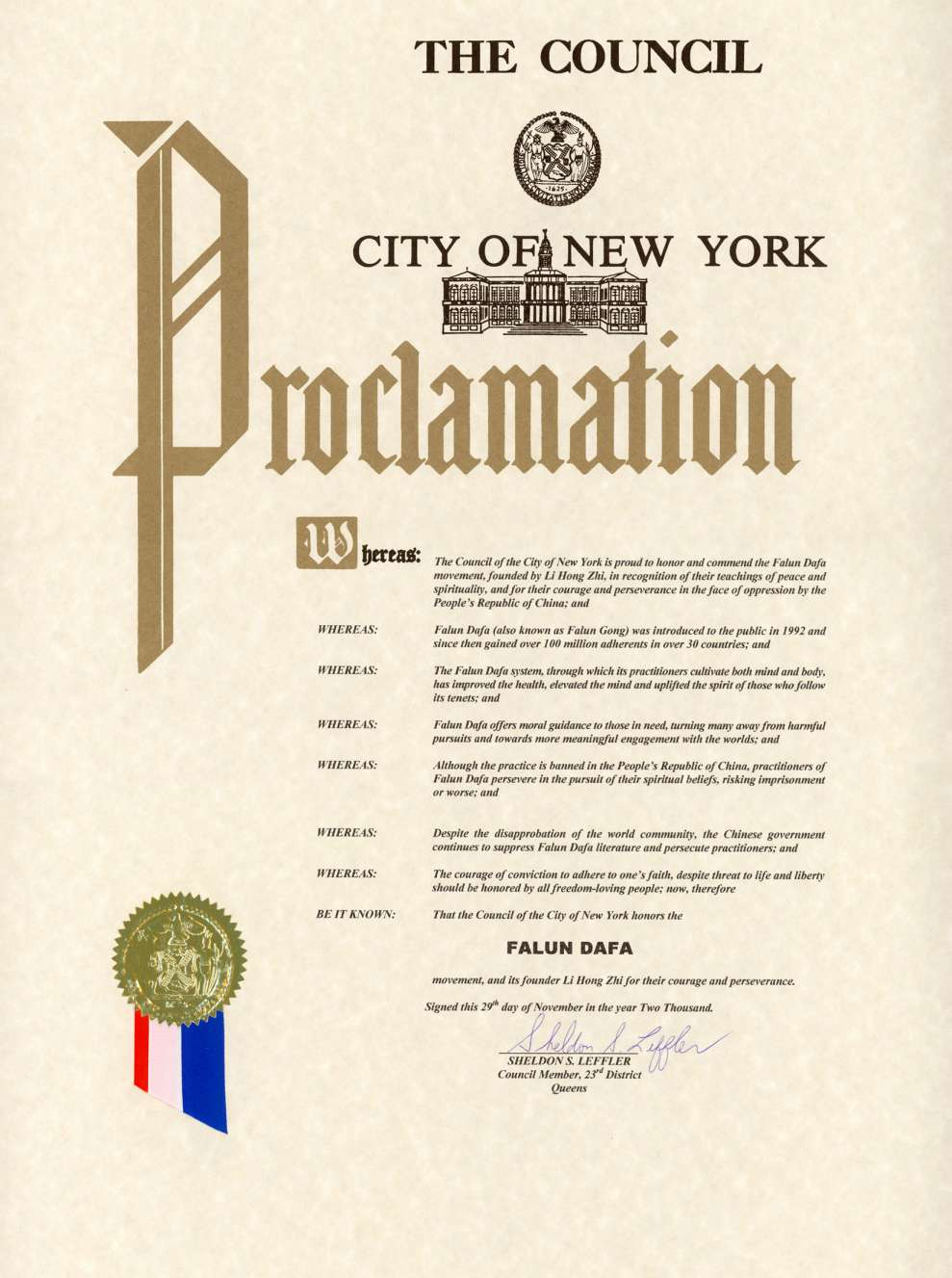 Falun Dafa Proclamation: New York City